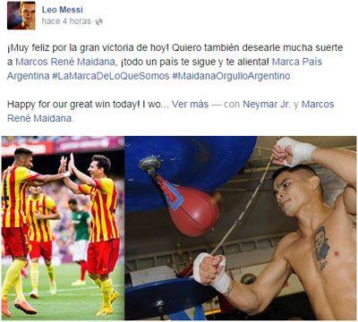 Messi apoyó en Facebook al Chino Maidana