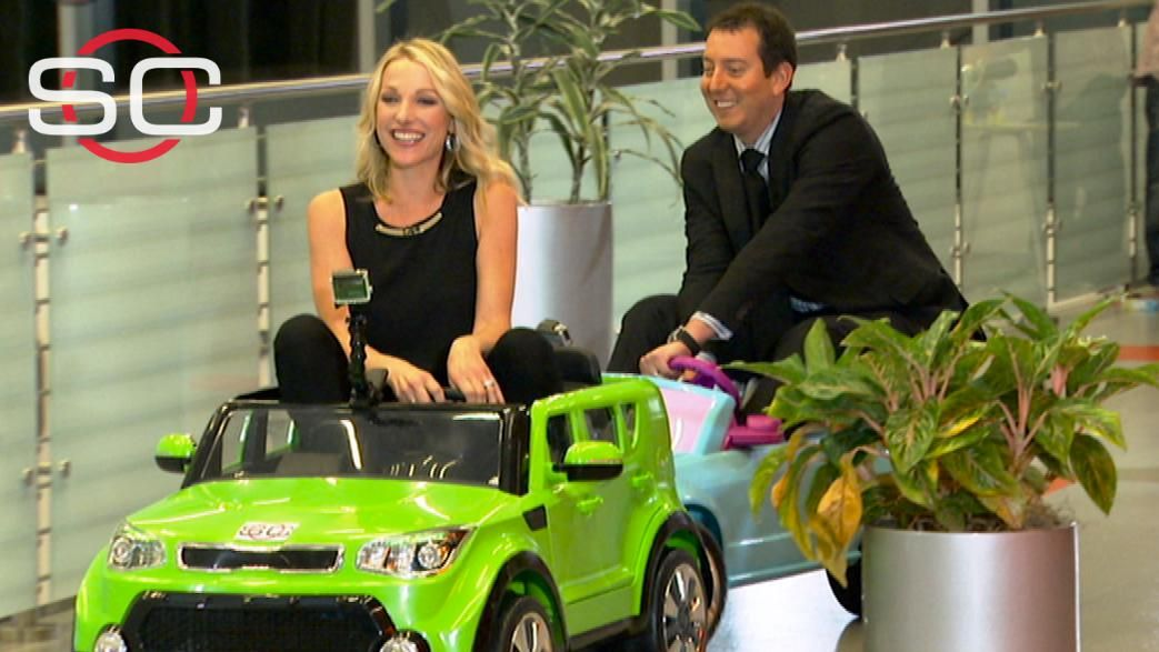 Lindsay Czarniak vs. Kyle Busch - Power Wheels style - ESPN Video