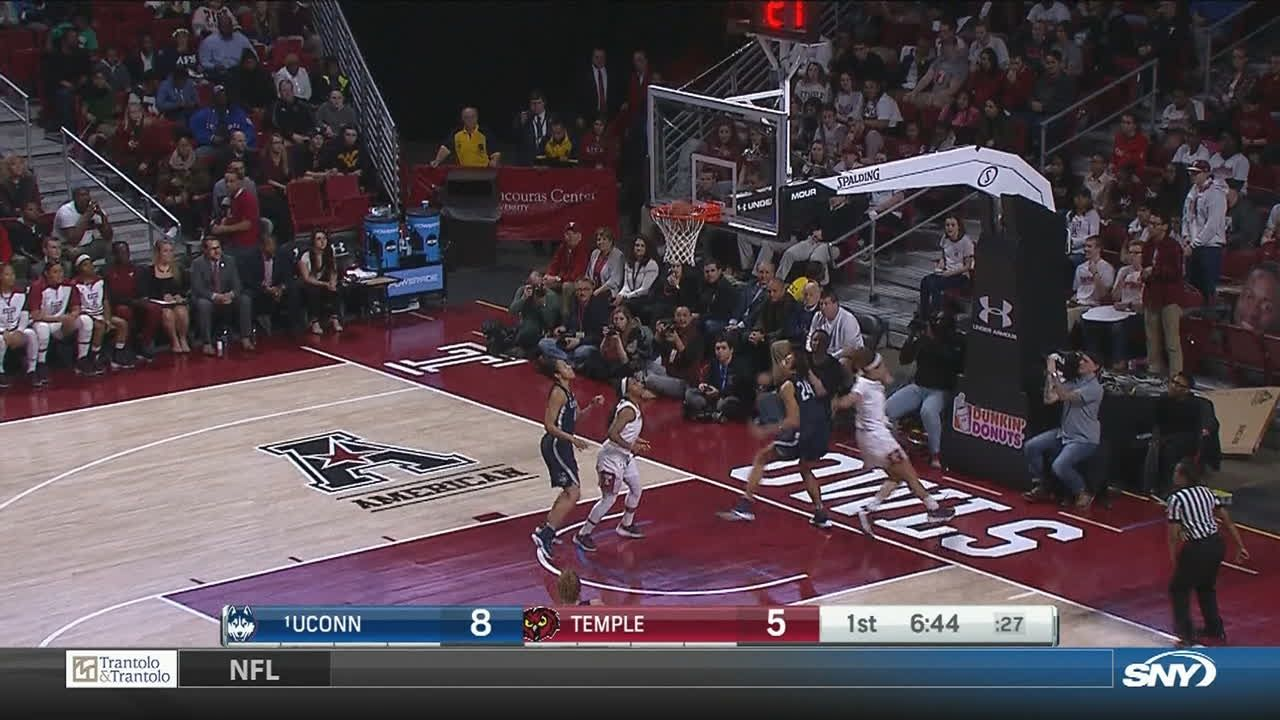 UConn gets the steal and scores the layup on the break ...