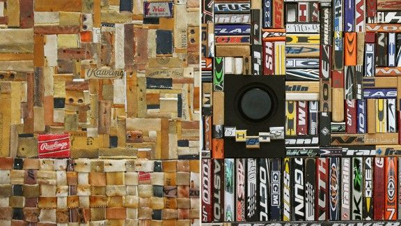 Artist Uses Old Sports Materials For Collages
