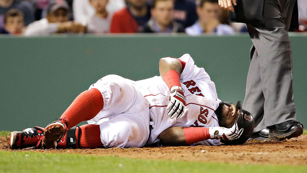 Red Sox 3B Pablo Sandoval hit by pitch, sustains bruised knee