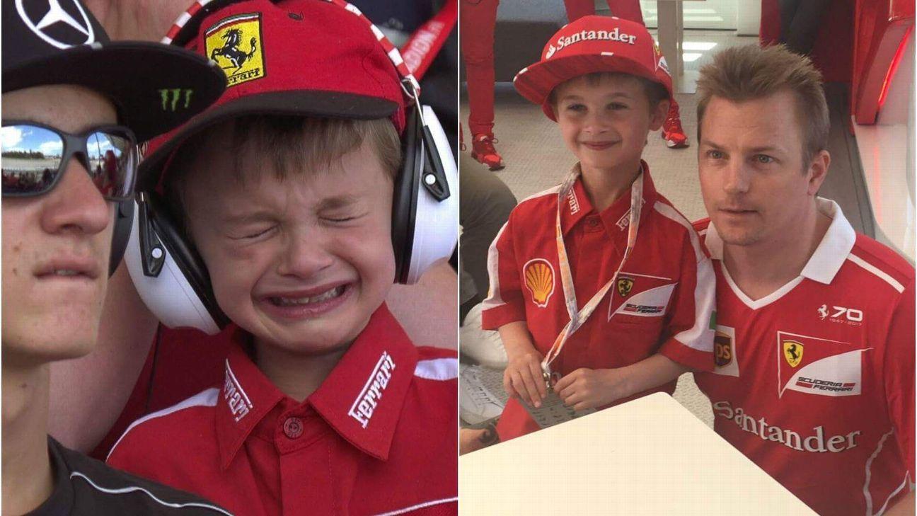 Boy cries at Kimi Raikkonen's retirement in Spain, gets taken to meet him at Ferrari