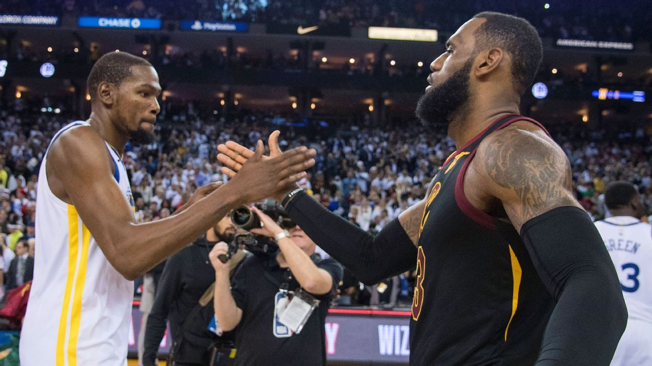 Cleveland Cavaliers' LeBron James, Golden State Warriors' Kevin Durant talk about President Donald Trump ...