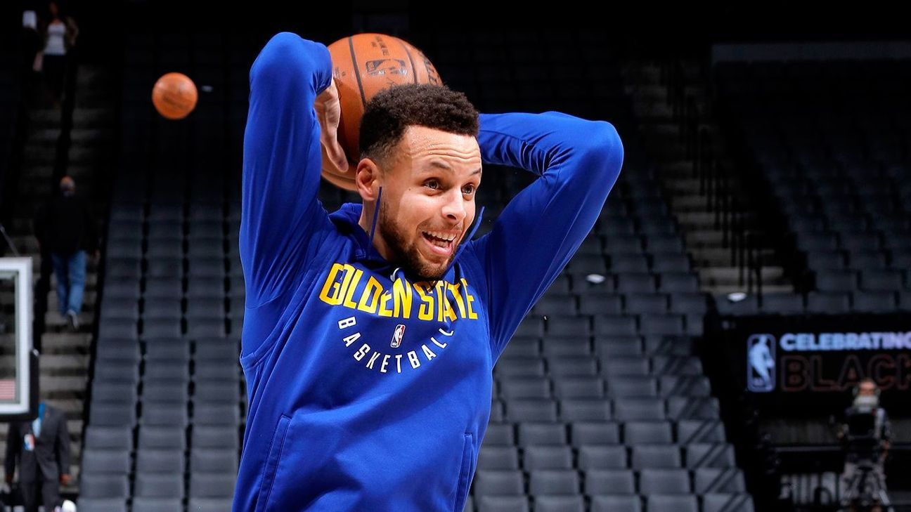 Stephen Curry of Golden State Warriors eyes return to action against Atlanta Hawks