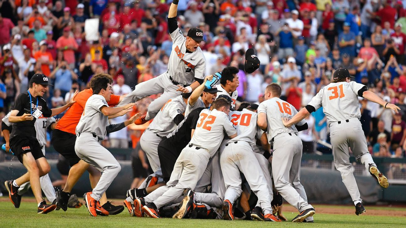 Oregon State sails by Arkansas 5-0 to win CWS