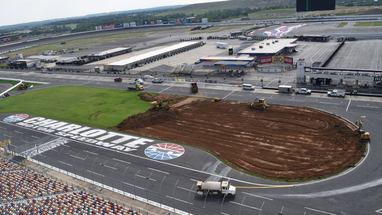 Charlotte motor speedway installing synthetic turf for Charlotte motor speedway pictures