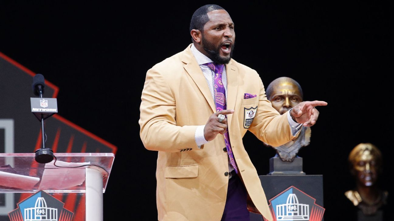 In an unprecedented move, Ray Lewis wore a wireless mic and roamed the stage during a passionate, 33-minute, 17-second Hall of Fame speech.