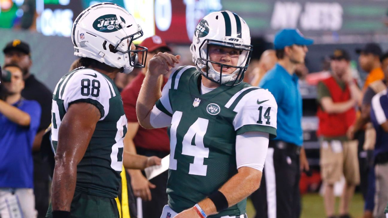 Rookie quarterback Sam Darnold, seeking to become the Jets' Week 1 starter, received a rousing ovation from the home crowd as he ran onto the field -- and he didn't disappoint.