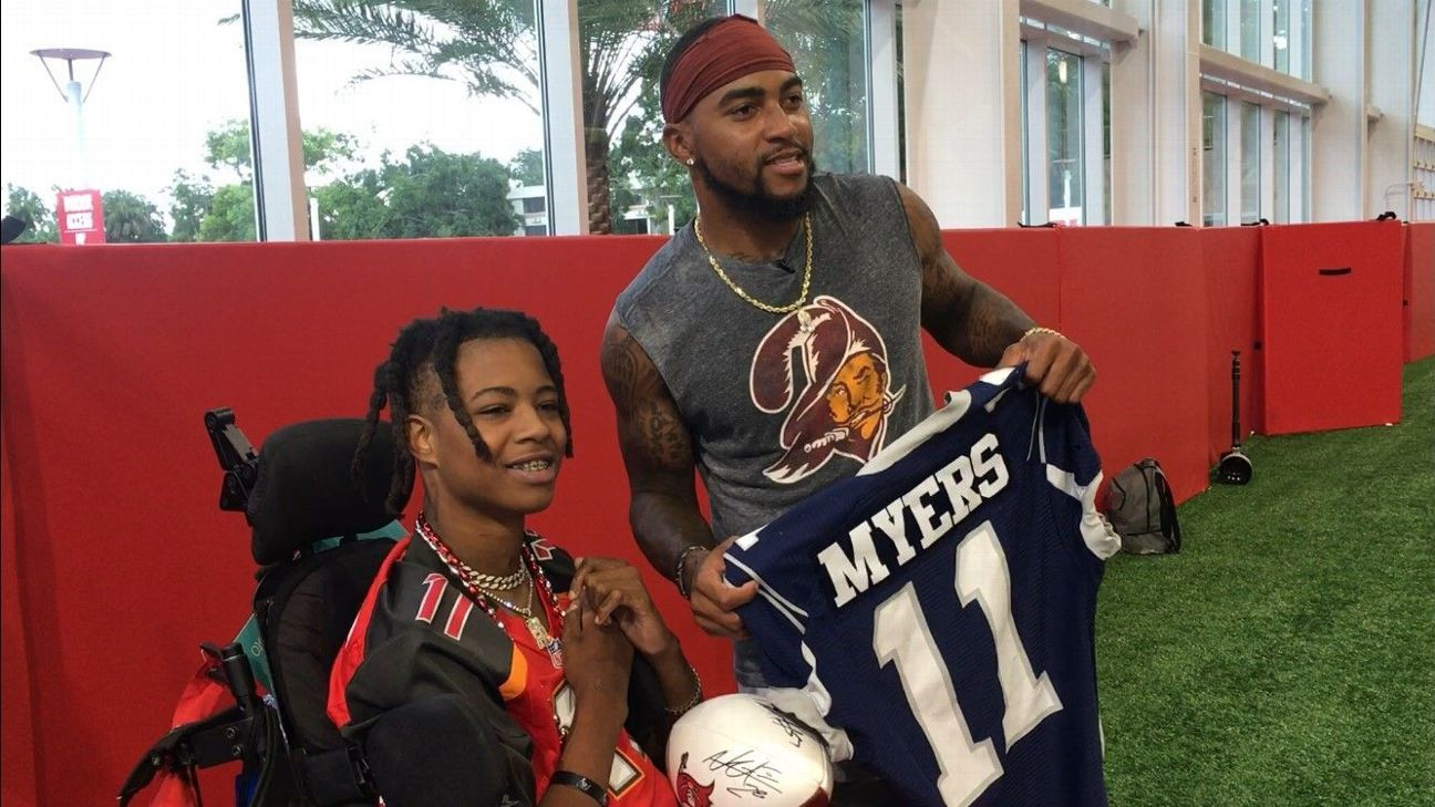 After connecting with paralyzed teen D.J. Myers while he was recovering from a spinal injury, Bucs wide receiver DeSean Jackson finally got to meet the 17-year-old on Saturday.