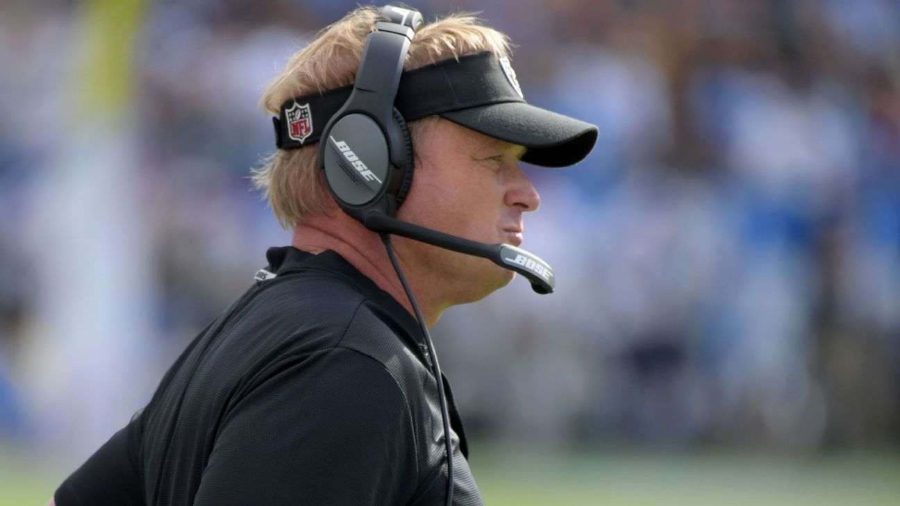 Raiders coach Jon Gruden has fired back at critics who have written off 2018 as a lost season in Oakland, saying after the 1-5 Raiders' disastrous 27-3 loss to the Seattle Seahawks in London,