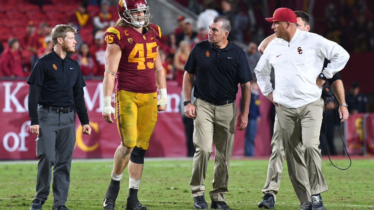 The USC defense was dealt a major blow Sunday, when coach Clay Helton announced that senior outside linebacker Porter Gustin would miss the remainder of the season with a fractured ankle.
