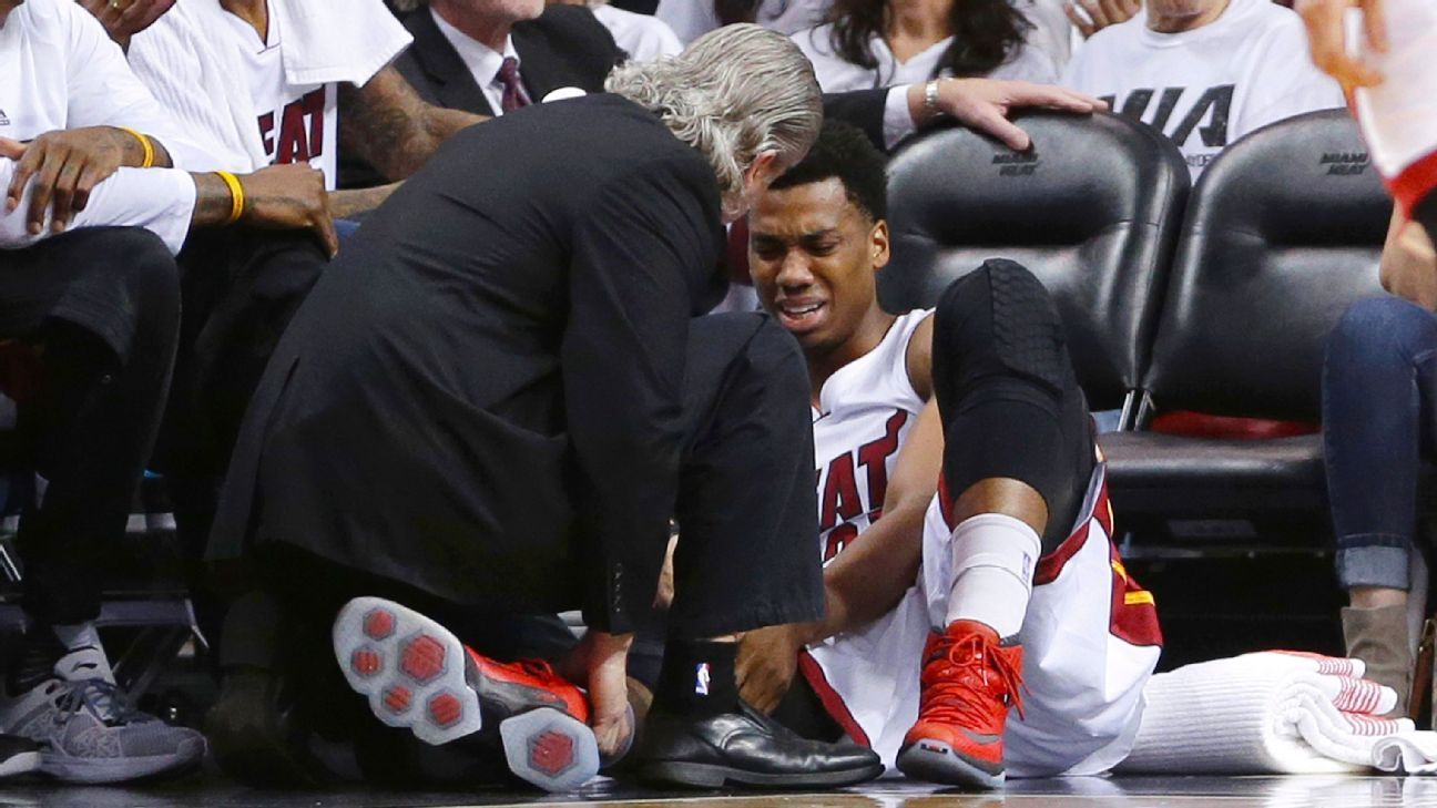 2016 nba playoffs -- miami heat's hassan whiteside ruled out of game 4 but will not undergo knee surgery