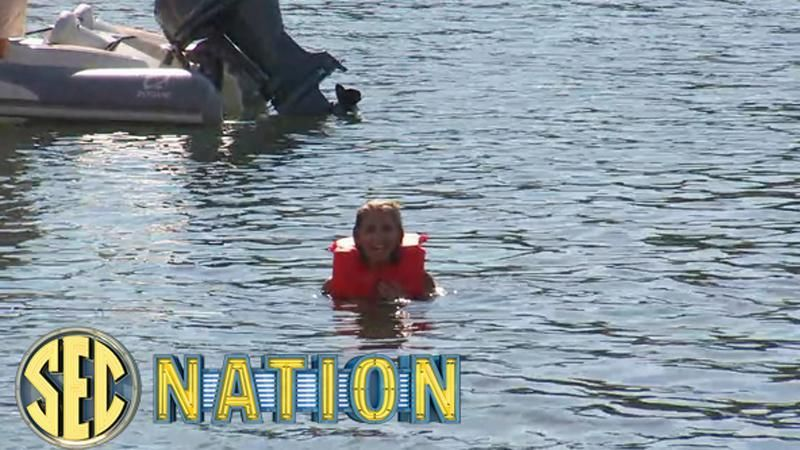 SEC Nation dare: Laura jumps in the river