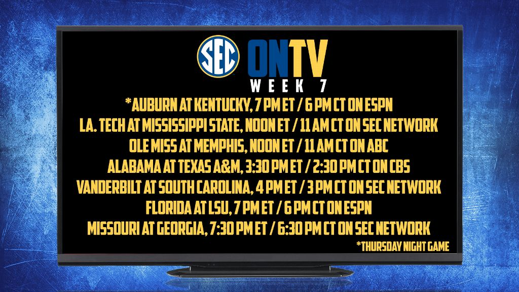 SEC announces Week Seven TV Schedule