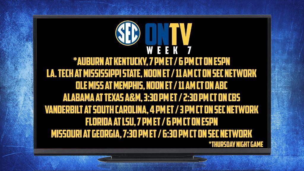 SEC announces Week Seven TV Schedule