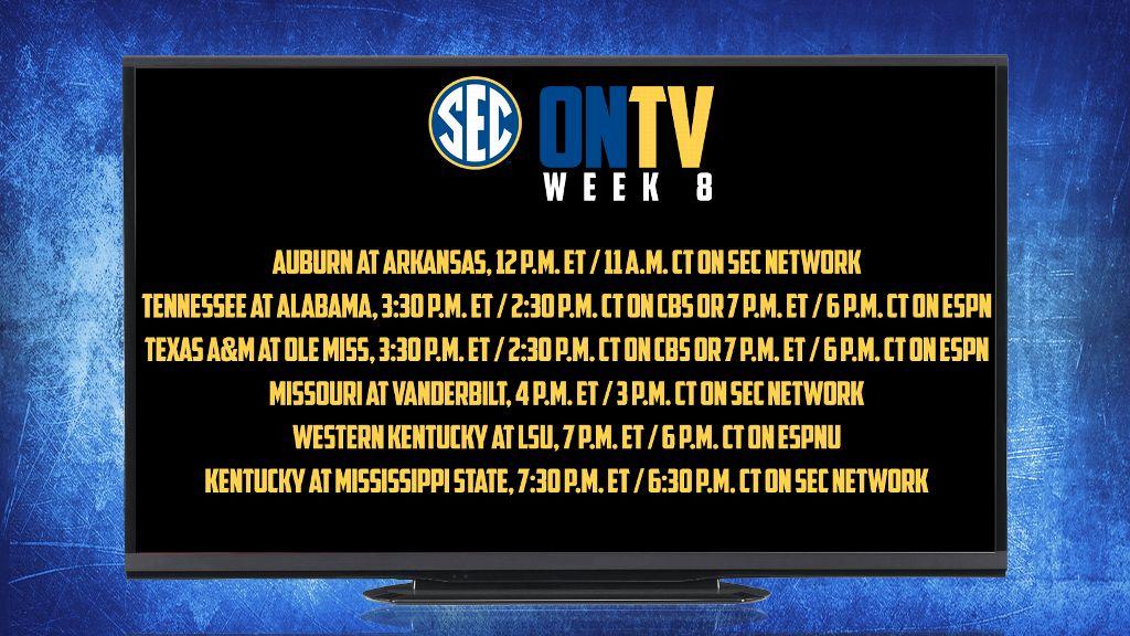 SEC announces Week 8 TV schedule