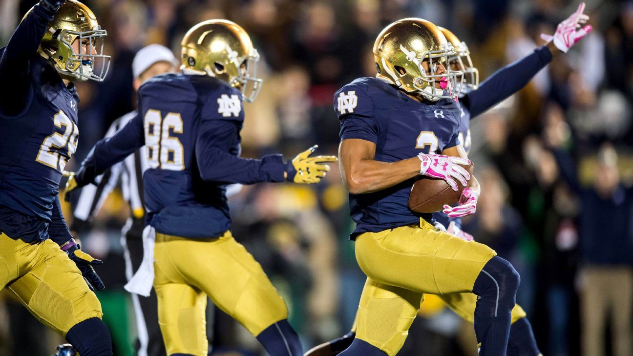 espn report college football scores notre dame