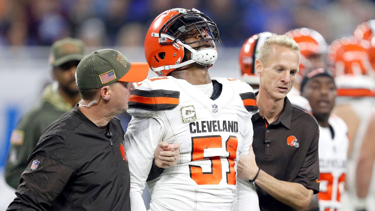 Jamie Collins of Cleveland Browns out for season with torn MCL