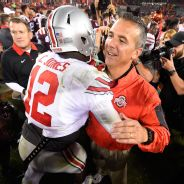 Cardale Jones hugs Urban Meyer