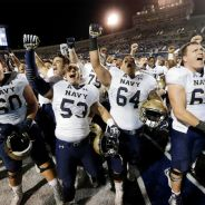 Navy players celebrate