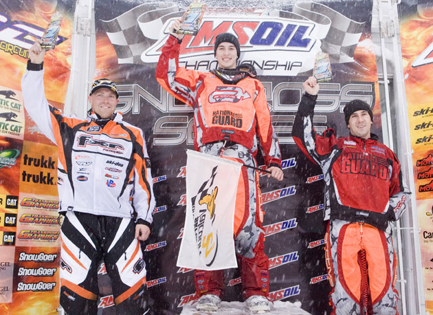 Robbie Malinoski (2), Brett Bender (1) and TJ Gulla (3), from left, atop Sunday's Pro Open podium in Valcourt, Quebec.