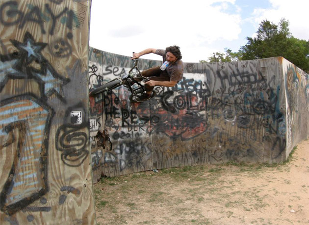 Curved wall ride. Wait a sec. That's a water bottle in Chad's mouth. Umm, yeah.