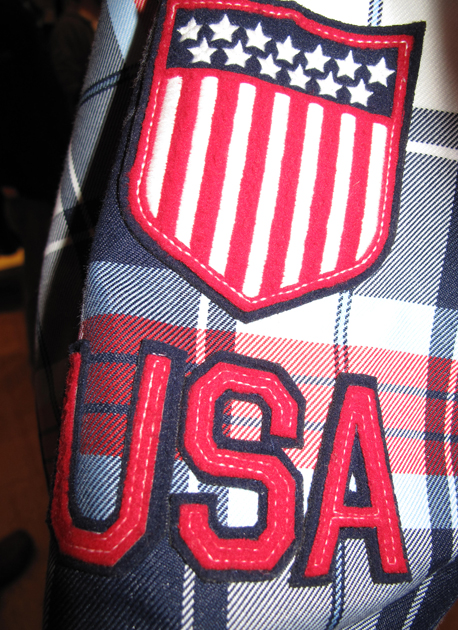 Dasychyn said the patches on the sleeve are a nod to the preppy, Ivy League look. Classic American.