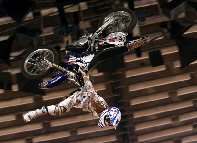 Australia's Rob Adelberg throws down huge on his way to the top of the podium on Sunday night in Basel.