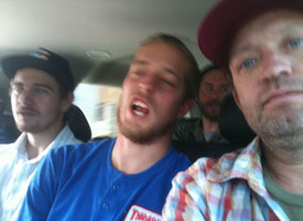 Mike Anderson, David Clark and Dan Drehobl get cozy in the van as the Krooked filming mission hits the East Coast.