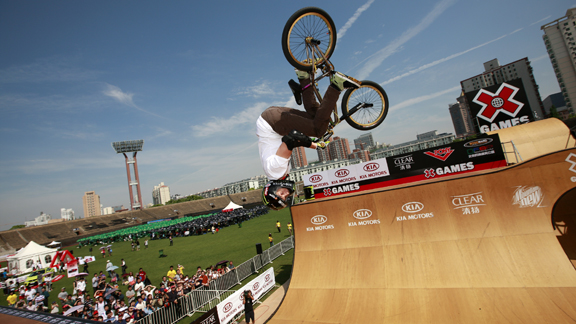 Jamie Bestwick competes in BMX Vert Finals in Shanghai.