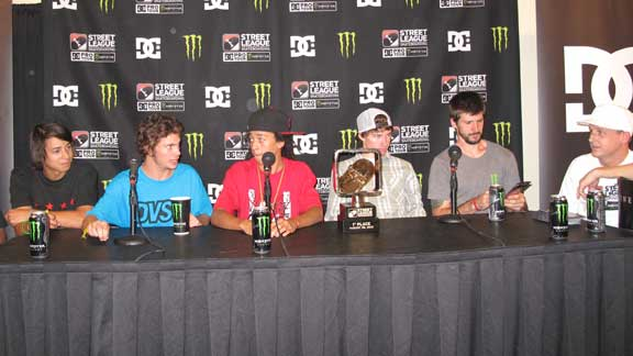 Street League finalists at the press conference. From left: Sean Malto, Torey Pudwill, Nyjah Huston, Shane ONeill, Chris Cole and mastermind Rob Dyrdek.