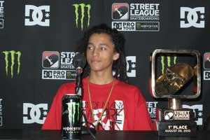 Nyjah Huston relishes his win at the first ever Street League contest.
