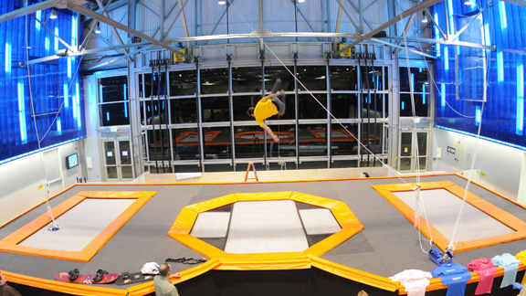 Built inside an old airplane hanger, House of Air offers pro-level spring trampolines.