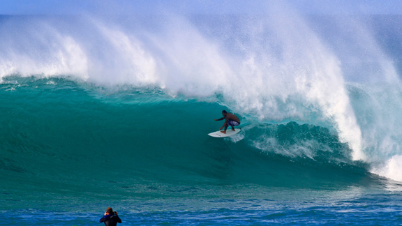 Andy Iron's friend, Sunny Garcia warming up for the HIC Pro.