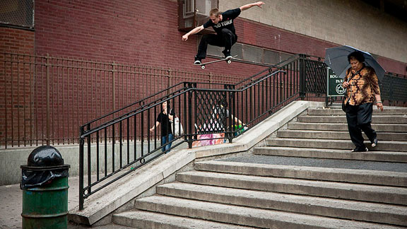 Westgate takes his big snaps over the rail to flat in New York City.