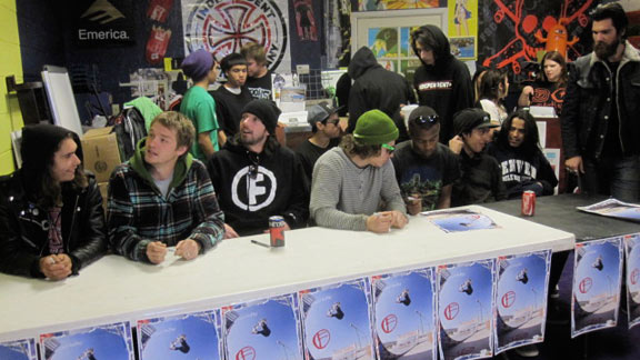 The entire team does a signing at Crooks skateshop.