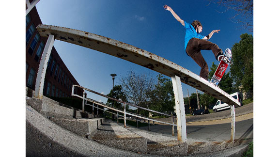 Getting the goods on the road, Matthews locks into a perfectly poised nosebluntslide while on tour with the S squad.