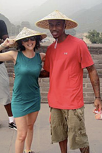 Ilana Nunn with her client Brandon Jennings of the Milwaukee Bucks.