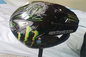 Donny Robinson's helmet following his crash last week at the OTC.