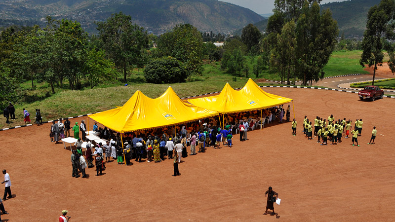 Rwandan people gather