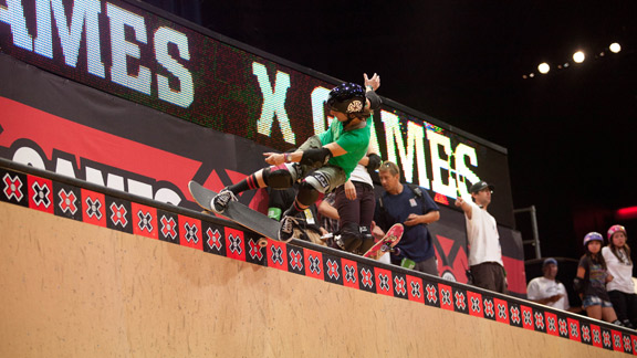 Cara-Beth Burnside at last summer's X Games vert, her eighth straight appearance.