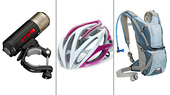 Get the latest cycling must-haves: Left to right, the Princeton Tec Push Light, the Giro Atmos and the Camelbak Magic.
