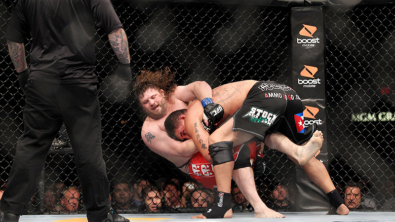 Roy Nelson, bottom, versus Frank Mir