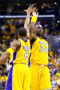 Kobe Bryant and Shaquille O'Neal won three title together with the Los Angeles Lakers, the last in 2002.