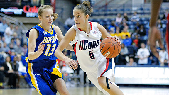 UConn guard Caroline Doty, right, has torn her ACL three times. Female athletes are up to eight times more likely to sustain the injury.