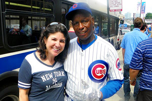 Amanda poses for a photo with local Wrigleyville celebrity Ronnie Woo Woo.