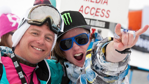 Coach Pat Sharples with James Woods, who took third in Slopestyle at Winter X Europe.