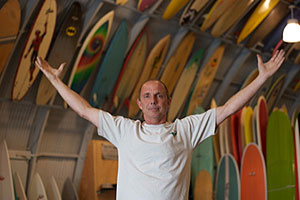 Eric Bird Huffman at his quonset hut in San Diego.