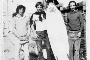 The Z manufacturing team of Kaufman, George Wilson and Chris Cahill with the new Z surfboard. Venice, Calif. 1980.