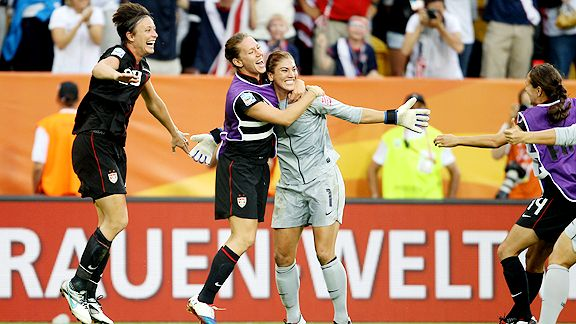 The U.S. team was the belle of the ball, celebrating an improbable victory with the latest goal in WWC history and adding a stunning 5-3 edge on penalty kicks to send Brazil packing.